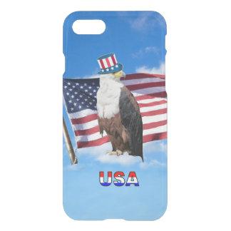 Coque iPhone 7 Eagle chauve américain et drapeau américain