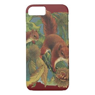 Coque iPhone 7 Écureuils vintages, créatures de forêt, animaux