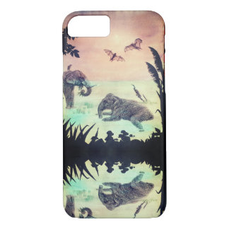 Coque iPhone 7 Éléphant d'Asie baignant la silhouette de coucher