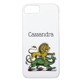 Coque iPhone 7 Emblème héraldique de crête de lion et de dragon