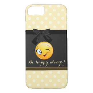 Coque iPhone 7 Emoji souriant clignotant adorable font face, pois