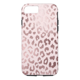 Coque iPhone 7 Empreinte de léopard de PixDezines/or rose de Faux