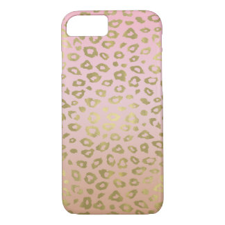 Coque iPhone 7 Empreinte de léopard rose d'or d'Ombre