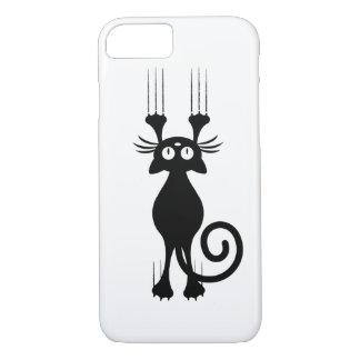 Coque iPhone 7 Éraflure mignonne de chat noir de bande dessinée