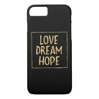 Coque iPhone 7 Espoir étincelant de rêve d'amour d'or