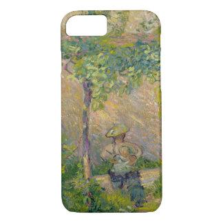 Coque iPhone 7 Femme dans le jardin (huile sur la toile)
