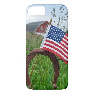 Coque iPhone 7 fers à cheval et drapeau américain sur la barrière