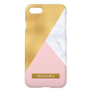 Coque iPhone 7 Feuille d'or de marbre blanche à la mode et rose