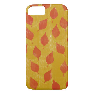 Coque iPhone 7 Feuille rouge et d'or