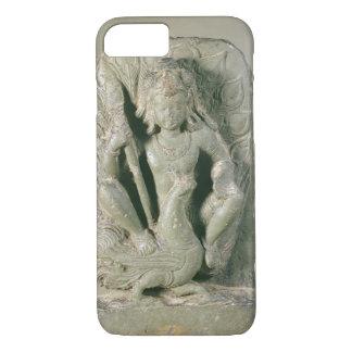 Coque iPhone 7 Figure de Skanda avec son paon, collines du