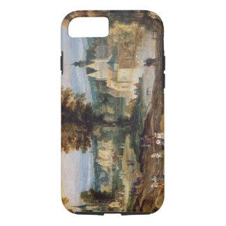 Coque iPhone 7 Figures dans un paysage avec le bey de village et