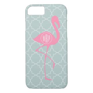 Coque iPhone 7 Flamant rose de monogramme + Quatrefoil