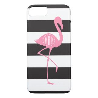 Coque iPhone 7 Flamant rose décoré d'un monogramme + Noir +