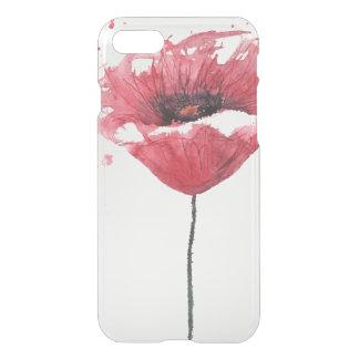 Coque iPhone 7 Fleur de pavot, aquarelle