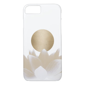 Coque iPhone 7 Fleur et Sun de Lotus d'or élégants