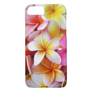 Coque iPhone 7 Fleur mélangée blanche jaune rose de Plumeria