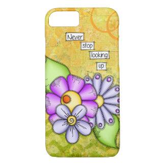 Coque iPhone 7 Fleur positive de griffonnage de pensée de plaisir