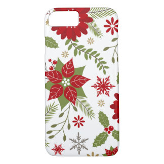 Coque iPhone 7 fleurs rustiques modernes de Noël