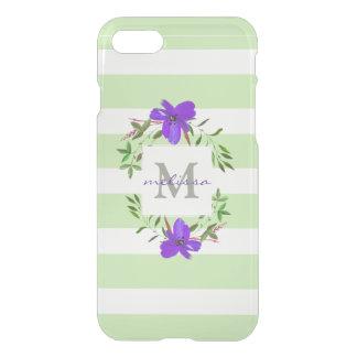 Coque iPhone 7 Fleurs violettes peintes avec le monogramme des