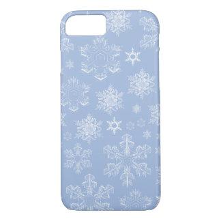 Coque iPhone 7 Flocons de neige givrés (chutes de neige) - blanc