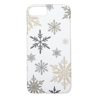 Coque iPhone 7 Flocons de neige vintages modernes d'hiver