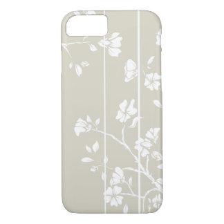 Coque iPhone 7 Floral gris et blanc élégant