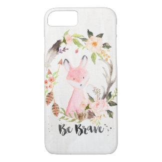 Coque iPhone 7 Fox chic d'aquarelle de Boho, guirlande florale,