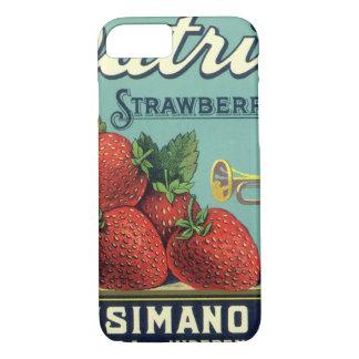 Coque iPhone 7 Fraises vintages de patriote d'art d'étiquette de