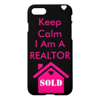 Coque iPhone 7 Gardez le calme que je suis un agent immobilier