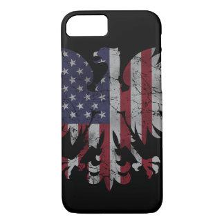 Coque iPhone 7 Héritage polonais patriotique de drapeau d'Eagle