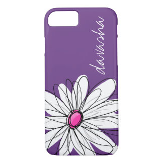 Coque iPhone 7 Illustration florale de marguerite à la mode -