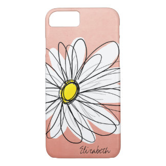 Coque iPhone 7 Illustration florale de marguerite à la mode - or