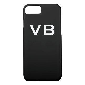 Coque iPhone 7 Initiales noires et blanches simples de monogramme