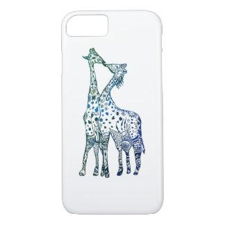 Coque iPhone 7 iPhone 8/7, à peine là baiser d'Apple de girafes