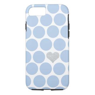 Coque iPhone 7 iPhone argenté de coeur de pois bleu-clair