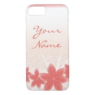 Coque iPhone 7 iPhone brillant de fleurs de pêche d'étincelle