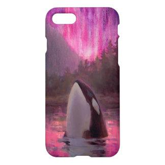 Coque iPhone 7 iPhone fait sur commande 7 d'épaulard d'orque rose