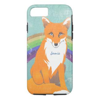 Coque iPhone 7 Iphone orange 5 de rétro de Fox de monogramme Aqua