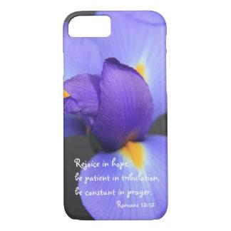 Coque iPhone 7 Iris pourpre, vers de bible au sujet d'espoir,