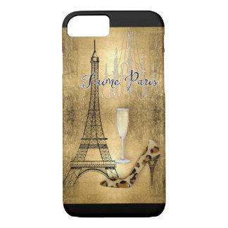 Coque iPhone 7 J'aime des chaussures de mode de Tour Eiffel de