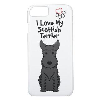 Coque iPhone 7 J'aime mon cas de téléphone de Terrier d'écossais