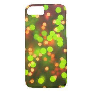 Coque iPhone 7 Jaune vintage et vert d'arrière - plan de lumières