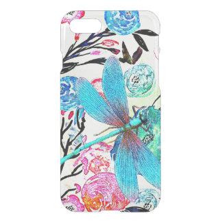 Coque iPhone 7 Joli floral abstrait avec la libellule bleue