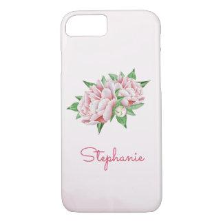 Coque iPhone 7 Jolie aquarelle de pivoines roses
