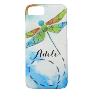 Coque iPhone 7 La libellule d'aquarelle a personnalisé la caisse
