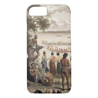 Coque iPhone 7 La pirogue emballe sur la rivière de Bassac,