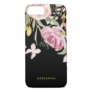 Coque iPhone 7 L'aquarelle fleurit rose et or de | floraux sur le
