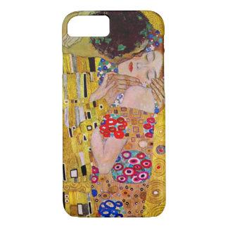 Coque iPhone 7 Le baiser par Gustav Klimt, art vintage Nouveau
