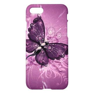 Coque iPhone 7 le beau remous de pourpre buterfly raye l'art de