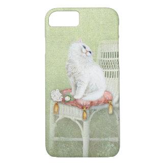 Coque iPhone 7 le chat et les roses blancs sur la chaise élégante